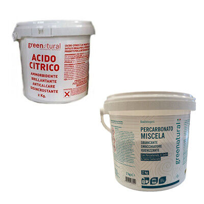 GREENATURAL PERCARBONATO DI SODIO O ACIDO CITRICO ANIDRO 2KG o 500 gr BOX
