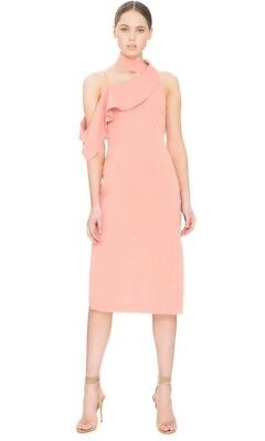 Keepsake XS Laika Midi Dress Side Slit Halter Drapey Dusk Rose pink Coral $198