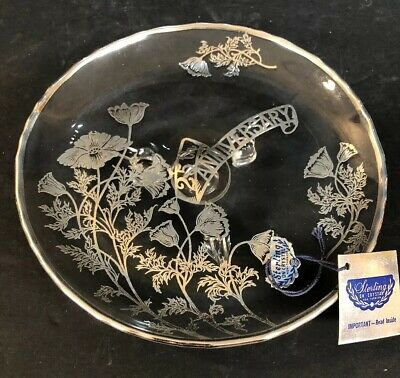Floral SILVER CITY STERLING Silver CRYSTAL 25th ANNIVERSARY PLATE FOOTED Platter