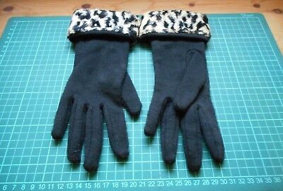 Classy Black Cotton Gloves With Black & White Leopard Print Cuffs. Size. M