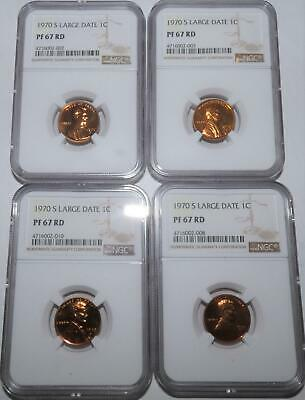 1970-S LARGE DATE LD LINCOLN CENT PROOF (PF 67 RD) 1C NGC (price guide=$21)
