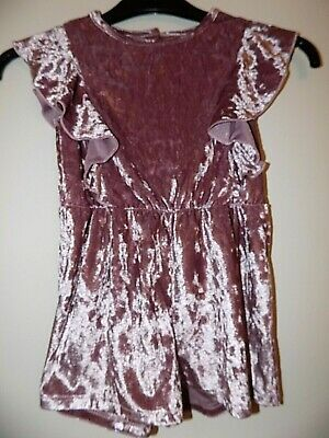 Primark Blush Pink Crushed Velvet Playsuit Age 5-6 Years Worn Once