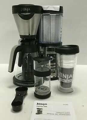 Ninja CF082 Hot and Cold Coffee Bar with Glass Carafe and Auto-iQ 18 oz Black