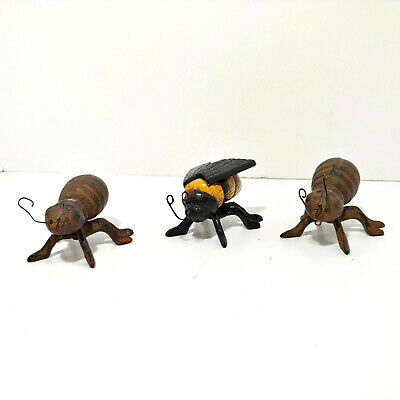 Antique Cast Iron Insects Bugs 1 - Hornet Bumble Bee & 2 - Ants Figural Metal