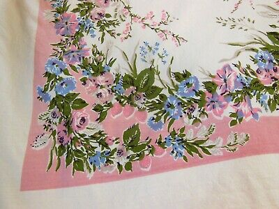 Vintage Tablecloth PRINTS CHARMING FAIRFAX Pink Blue Green Floral