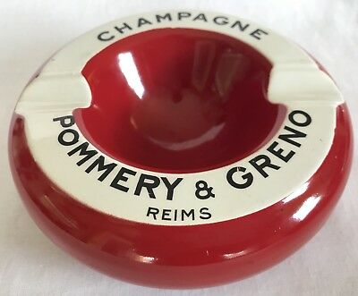 Vintage Red French Bistro Ashtray Pommery & Greno Champagne Reims Gorgeous!