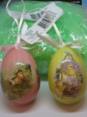 New 2 Vintage Style Decoupage Easter Egg Ornaments & Package Green Basket Shred