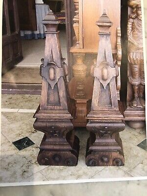 PAIR OF ANTIQUE FRENCH PILASTERS DU CHEMINEE,1880-90s,Carved Oak,RENAISSANCE