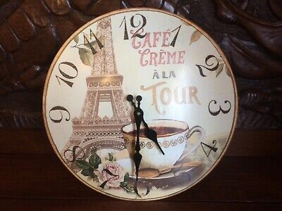 Wall Clock, French Style Shabby Chic, Eiffel Tower, Cafe Creme a la tour, Rose.