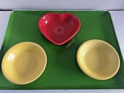 FIESTAWARE LOT OF 2 YELLOW SMALL BOWL & 1 HEART RED DISH Fiesta HLC
