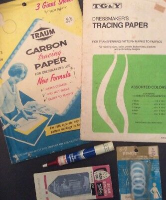 Sewing Collectibles Singer Machine Oil Tube, Talon Binding, Tracing Paper, Rings