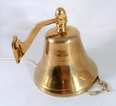 """Vintage Brass Nautical Bell Wall Mount With Screws Width 4 3/4"""" Height 5 1/2"""""""