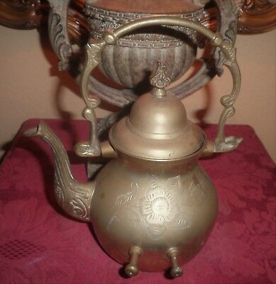 Brass Oriental Style Decorative Middle Eastern Look-Etched Patterns-Teakettle