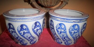 Antique Chinese Blue & White Floral Porcelain Planters (Lot Of 2)