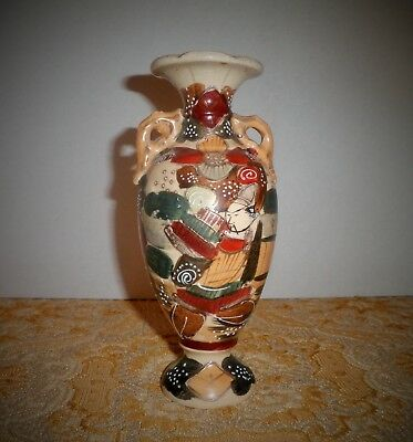 Antique 19C Japanese Meiji Period Satsuma Samurai Warrior & Floral Motif Vase