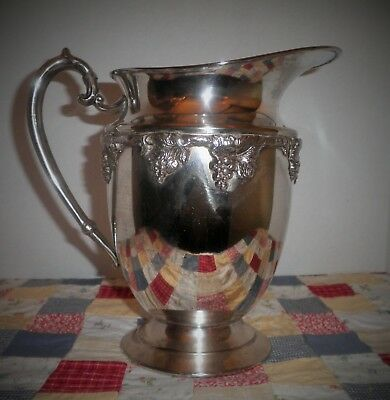 Vintage Silver On Copper Grape Embossed Water Pitcher