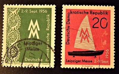 "East Germany 1956 ""Leipzig Autumn Fair"" 2 stamps, 10pf and 20pf."