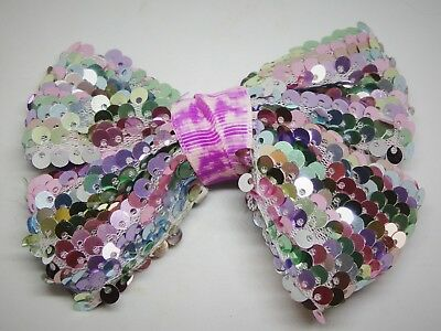 Girls Jo-Jo Style Hair Bow,4 Inch,Spangle,Cheer Leader,Alligator Clip,Fast P&P