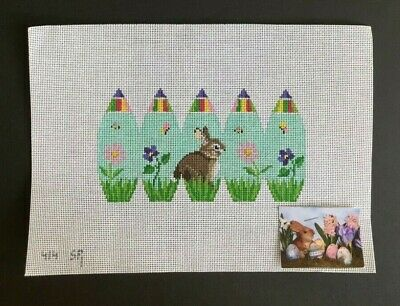 Susan Roberts Hand-painted Needlepoint Canvas 3-D Easter Egg/Rabbit & Flowers
