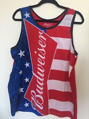 ad5316e932b08 Budweiser Beer USA Flag Mens Tank Top Size Large