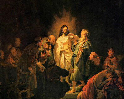 Huge Oil painting Rembrandt Netherlands - Christ The Incredulity of St Thomas