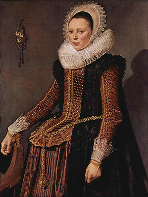 Huge Oil painting Frans Hals - Portrait of a woman with lace collar and hood