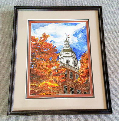 The Annapolis State House original watercolor matted and framed art Maryland