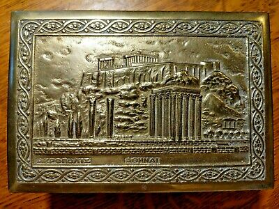 Mission Arts & Crafts Cigarette Box Brass Athens Greece Ruins AKPONOAIE AGHNAI