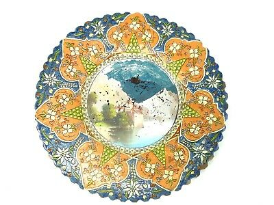 19th Century French Faience Enameled Majolica Scenic Charger Signed Earthenware