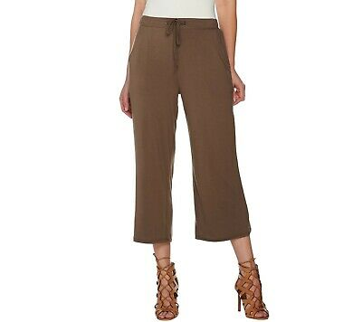 H by Halston Women's Pull-on Crop Wide Leg Pants with Self-Tie Earth Size 10 QVC