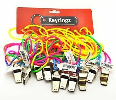 2x Metal Whistle Referee Lifeguards Sports Blowing Whistles with Coloured String