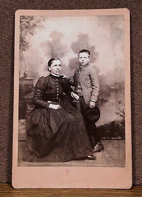 Antique Cabinet Card Photograph Schlauch Mother and Son Holding Dark Hat