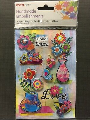 New - Flowers/Insects Embellishments -  - 8 Pack - Acid Free