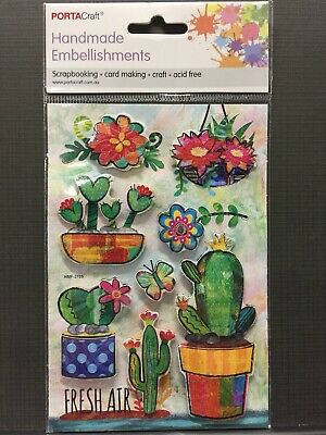 New - Cactuses/Flowers/Butterfly Embellishments - 8 Pack - Acid Free