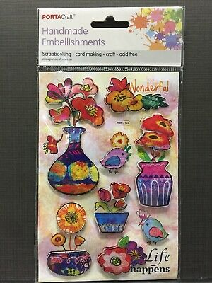 New - Flowers/Birds Embellishments -  - 8 Pack - Acid Free