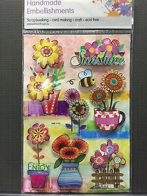 New - Flowers/Bees Embellishments -  - 8 Pack - Acid Free