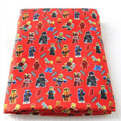 Fabric Lego Construction Brick Toy Print Polycotton Blend 50 X 145 Cm/20 X 58 In