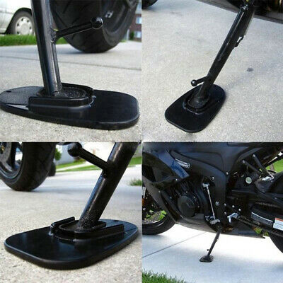 Useful Motorcycle Kickstand Pad Support Black Soft Ground Outdoor Parking Solid~