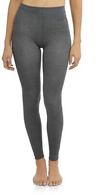 a6b87c49db634 NWT WOMANS FLEECED FOOTLESS TIGHTS SIZE S/M Charcoal Grey Secret Treasures  New