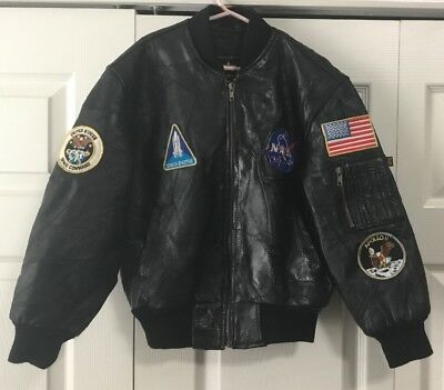 Vintage ALPHA INDUSTRIES NASA Black Leather Bomber Aviator Jacket - Youth Small