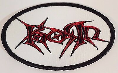 Korn white red & black oval tribal logo iron-on/sew on embroidered patch NEW
