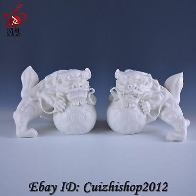 "7"" Chinese Dehua White Porcelain Foo Fu Dog Guardion Door Lion Ball Statue Pair"