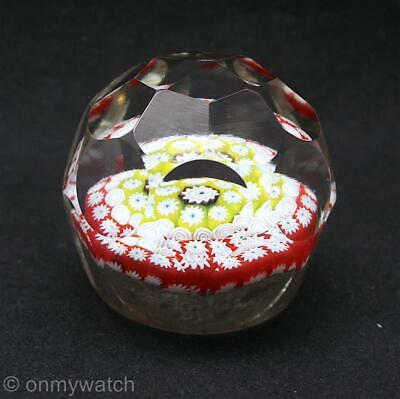 FINE Vtg Fratelli Toso MURANO 🇮🇹 FACETS Millefiori Art GLaSs Paperweight Large