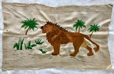 "ANTIQUE LARGE HAND-EMBROIDERED LION NEEDLEWORK 45 "" length LINEN"