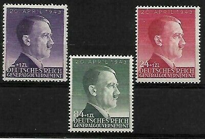 *L@@K* 3 Hitler's Birthday..german General Government Mnh Stamps.1943...