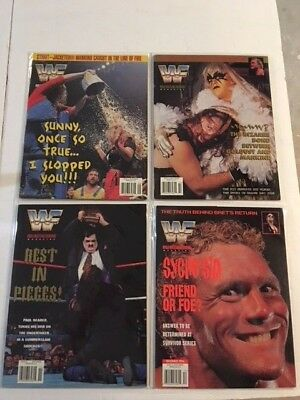 Lot 4 WWF Magazine 1996 Sep Oct Nov Dec Sunny Goldust Mankind Undertaker +Cards