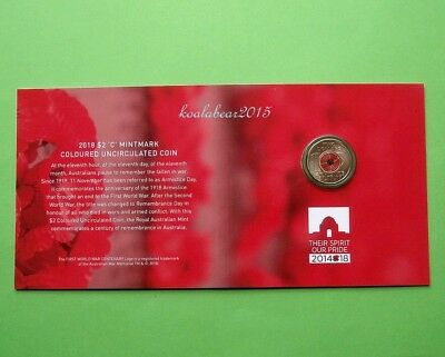 2018 $2 'C' Mintmark Uncirculated Coin Remembrance Day  Armistice Centenary