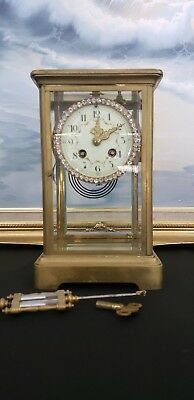 Antique Brass  Crystal Regulator Clock .Japy Freres,with Swarovsky dial. France.
