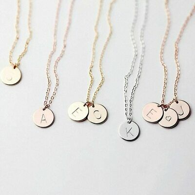 NEW Alphabet Letter Circle Pendant Charm Rose Gold Silver Necklace Chain Jewelry