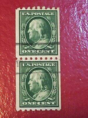 US SCOTT Cat # 390 Used 1c Vertical Coil Pair Franklin Stamps CV $45 FREE S&H